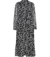 endalia ls long dress aop 6687 maxiklänning festklänning svart envii