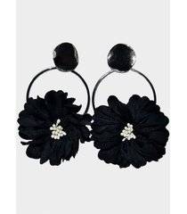 aros argollas flor negro viva felicia