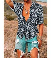 hombres leopardo estampado cuello vuelto suelto casual camisa