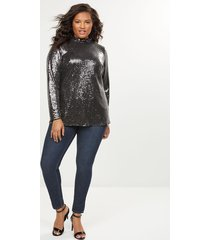 lane bryant women's sequin mock-neck top 24 gunmetal