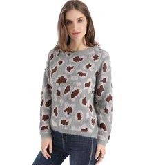 sweater animal print gris nicopoly