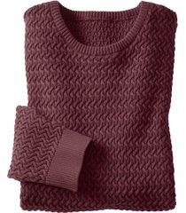 pullover uit bio-katoen met kabelpatroon, marsala m