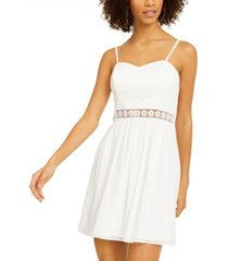 bcx juniors' crochet-trim fit & flare dress