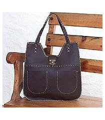 leather shoulder bag, 'espresso delight' (mexico)