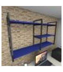 prateleira industrial para escritório aço preto mdf 30 cm azul escuro modelo ind14azes