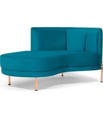sofã¡ chaise longue para sala de estar ferrara veludo turquesa - gran belo - azul - dafiti