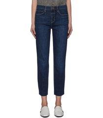 'sada' frayed hem crop slim fit jeans