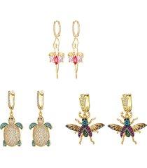 the luxe 3-pair 18k goldplated & crystal drop earrings
