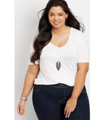 maurices plus size womens 24/7 flawless solid tee white