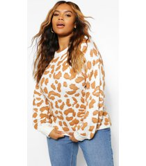 plus knitted leopard sweater, camel