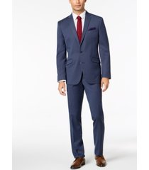 kenneth cole reaction men's big & tall slim-fit ready flex stretch denim blue solid suit
