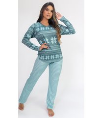 pijama de manga longa raglan estampa digital (green flake) - ref: k2807