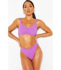 twisted crop crinkle bikini, purple