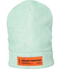 heron preston patched beanie hat