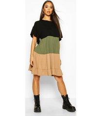 colour block tiered smock dress, khaki