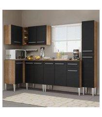 cozinha completa de canto madesa emilly water com armário, balcão e paneleiro rustic/preto rustic/preto