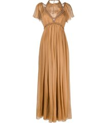 alberta ferretti pleated tulle maxi dress - brown