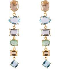 4-in-1 fluorite, lemon & blue quartz earrings