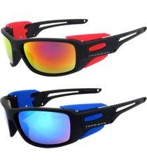 kit 2 óculos de sol prorider esportivo em grilamid® tr-90 preto vermelho / azul espelhado