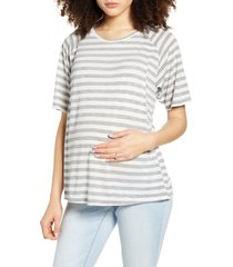 women's bun maternity smooth relax maternity/nursing tee, size small - grey