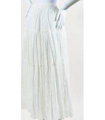 paris cream cotton textured maxi skirt