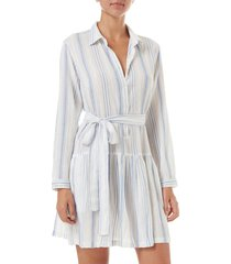 melissa odabash amelia cover-up shirtdress, size x-small in blue stripe at nordstrom