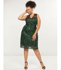 lane bryant women's embroidered mesh a-line dress 18 green & black