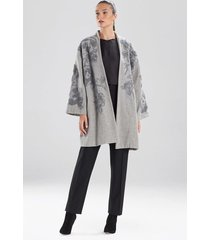 felted wool embroidered caban jacket, women's, grey, size s, josie natori
