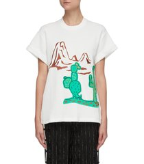 embroidered cactus waffle knit t-shirt
