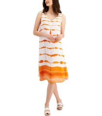 jm collection tie-dyed necklace sleeveless dress, created for macy's
