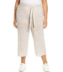 plus size women's bobeau tie front crop pants, size 2x - brown