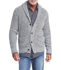 men's faherty marled cotton & cashmere cardigan, size x-large - grey