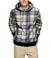 men's topman country check hoodie, size large - blue
