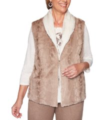 alfred dunner petite first frost reversible faux-fur vest