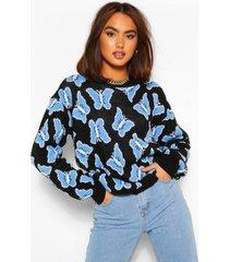 butterfly print sweater, black