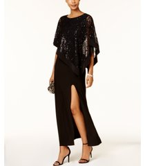 r & m richards sequined lace cape gown