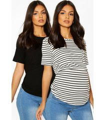 zwangerschap borstvoeding t-shirts (2 stuks), black
