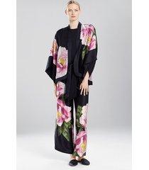 clair de lune kimono jacket, women's, black, 100% silk, size l, josie natori
