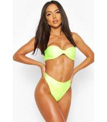 neon knotted bandeau bikini, neon-yellow