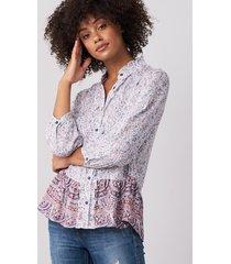 zijden blouse met en mille-fleur-print en franje