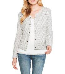 petite women's nic+zoe prismatic linen & cotton blend jacket, size petite p - grey