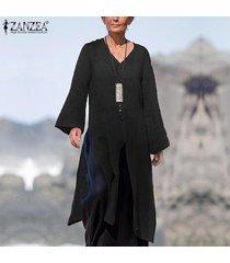 zanzea mujer de manga larga camisa de las tapas ocasionales flojos de split hem cascada de la blusa plus jumper -negro