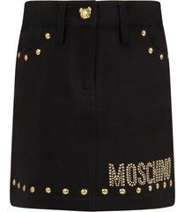 moschino black skirt for girl with logo