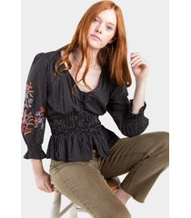brinley ruched polka dot blouse - black