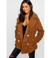 double breasted teddy faux fur coat, brown