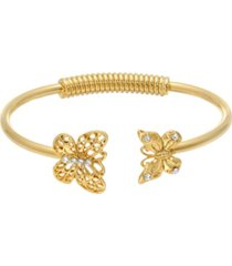 2028 women's gold tone and crystal accent butterfly spring hinge cuff bracelet
