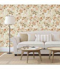 papel de parede adesivo floral vintage - bege - dafiti