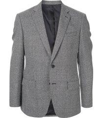 d'urban single-breasted micro pattern blazer - grey