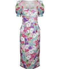 alessandra rich floral print dress with peplum