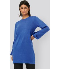 na-kd balloon sleeve knitted long sweater - blue
